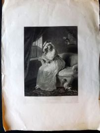 Anon C1903 Mezzotint. Pretty Lady with Parrot & Dog